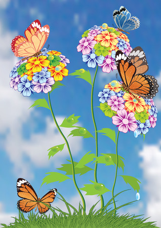 painting nature: Batterfly and flowers.