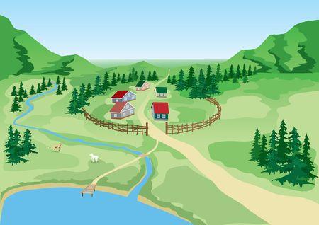 Rural landscape. Village at lake.