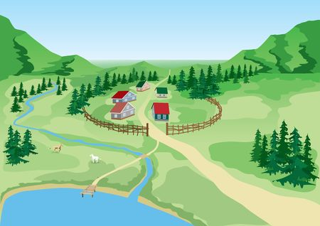 Rural landscape. Village at lake. Vector