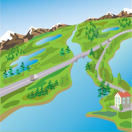 green tone: Rural landscape. Village at lake.