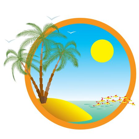 island clipart: Summer holiday on the sea. Illustration