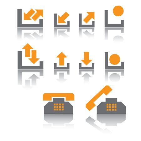 Icons are in grey and orange tones.  Vector