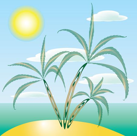 Island with palms. Stock Vector - 6797977