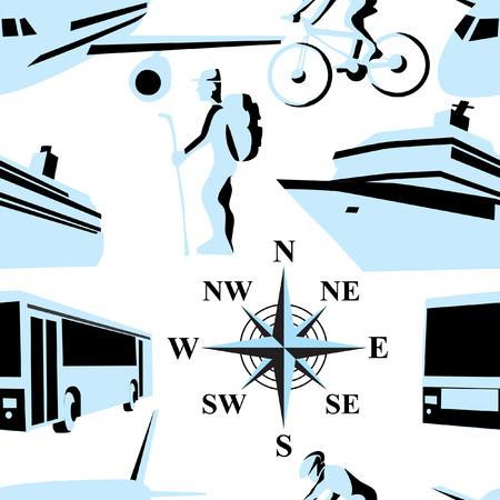 Trip. illustration. Seamless. Stock Vector - 8115984