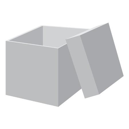 White blank open box. Vector illustration.