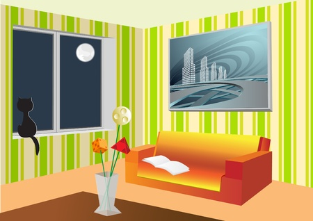 modern living room: Room with a bouquet and sofa Illustration