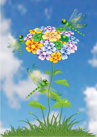 Flower background with butterflies and dragonflies. Vector illustration.