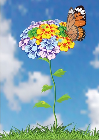 Flower background with butterflies and dragonflies. Vector illustration. Vector