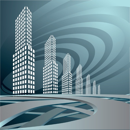 The city landscape is in dark tones. Vector. Vector