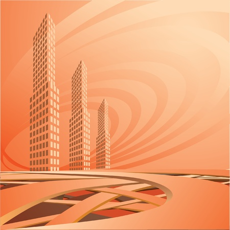 sea side: The city landscape is in light tones. Vector.