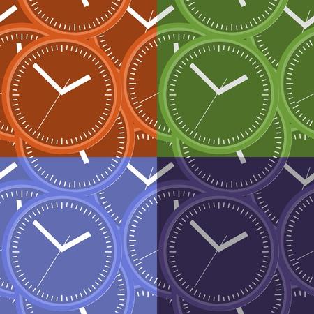 second hand: Wall clock  Vector illustration  Seamless