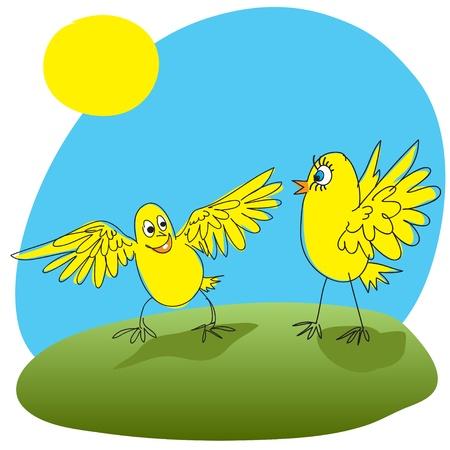 welcomed: Joyful chicken welcomed friend  Illustration