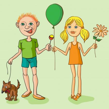 Boy with a dog, a girl with a flower Vector