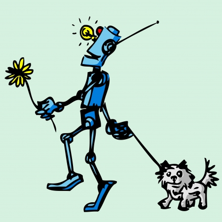 Robot walks his dog  Illustration  Vector