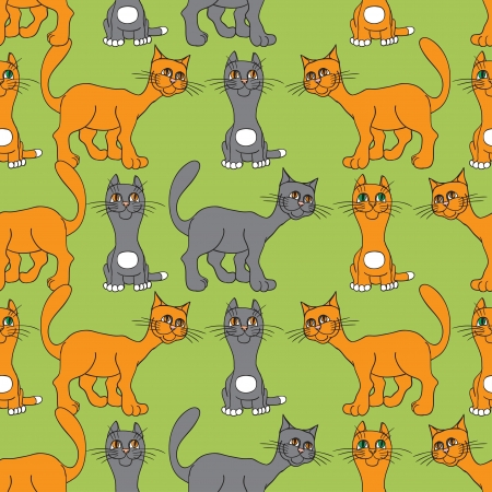Seamless texture  Cat, gray and red  Vector