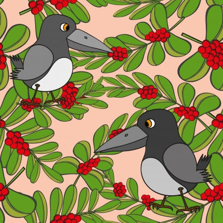 Little birds sing songs  Seamless texture  Vector