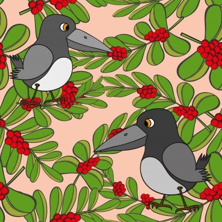 Little birds sing songs  Seamless texture Stock Vector - 16125792