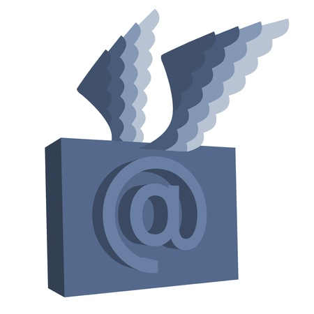 Email symbol with wings   Illustration