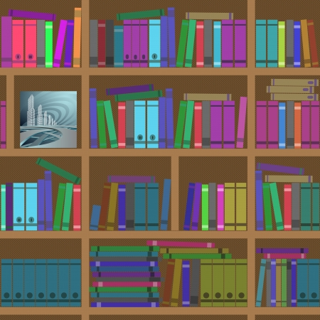 Bookshelves  Seamless texture  Vector