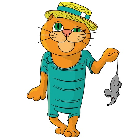 Hilarious cat in a straw hat Stock Vector - 17179395