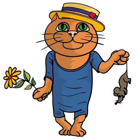 sombrero de paja: Gato hilarante en un sombrero de paja Vectores