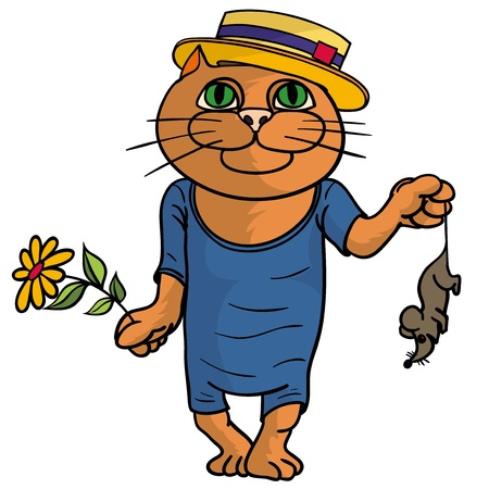 Hilaus cat in a straw hat  Stock Vector - 17309993