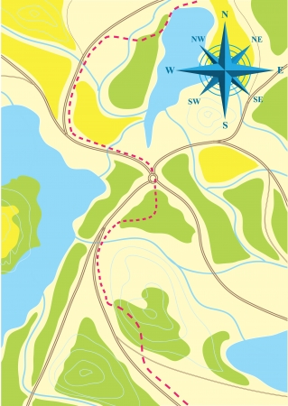 Map of trip on the forests Stock Vector - 17356732
