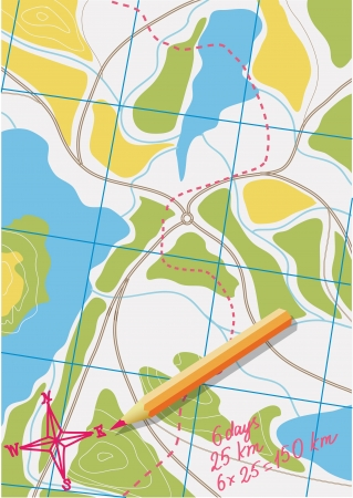 saved: Map of trip on the forests