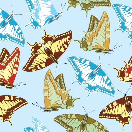 Seamless background of colorful butterflies Stock Vector - 18497005