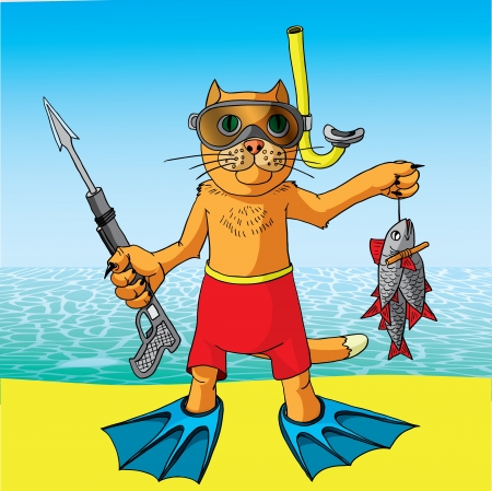 Cat on a fishing vacation  Vector