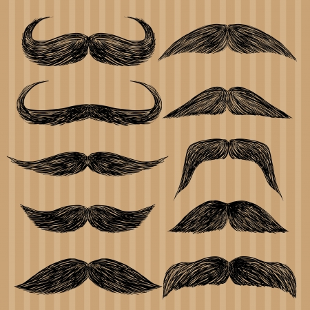Different types of mustaches  Retro style