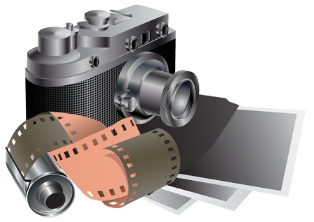 Film camera, film, pictures.  Vector