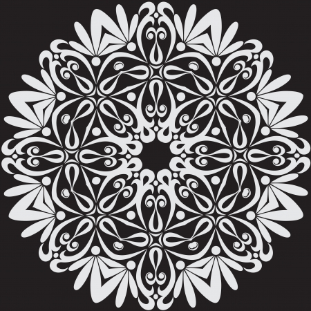 rug weaving: Beautiful lace pattern. The circular background. Vector illustration