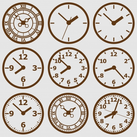 Wall mounted  clock. Vector illustration. Illustration