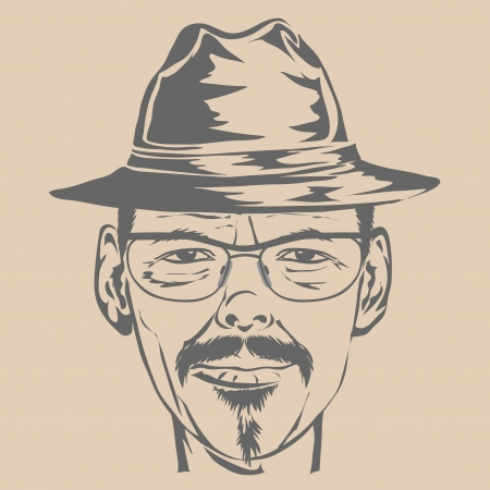 Young man in hat and glasses. Vector illustration. Vector
