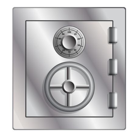 Metallic safe for storage of valuables. Vector illustration. Vector