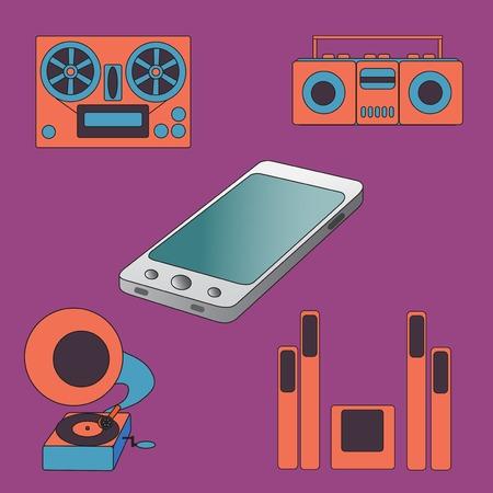 carries: Molte funzioni svolge un moderno telefono cellulare. Illustrazione vettoriale. Vettoriali