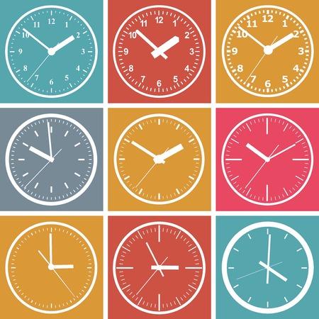 reloj pared: Montado en la pared con un reloj digital. Ilustración del vector. Vectores