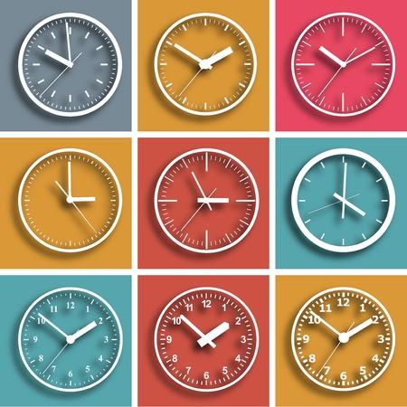 digital clock: Wall mounted digital clock. Vector illustration.