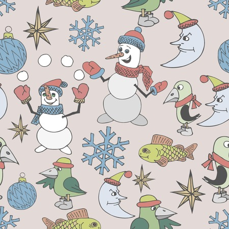 Merry Christmas background. Seamless texture. Vector