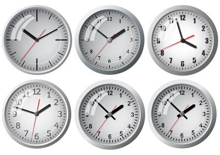 black clock hands: Wall mounted digital clock. Illustration