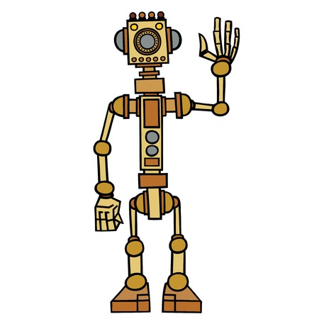 electronic device: Little robot, electronic, computer device. Illustration