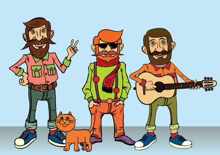character design: Dise�o de personajes Hipster.