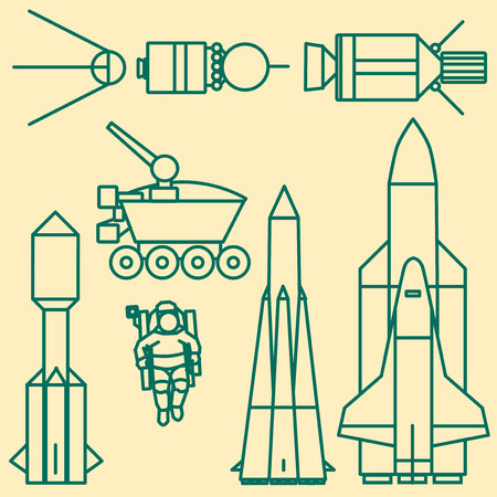 relating: Linear set of icons relating to space exploration. Illustration