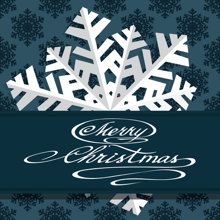 says: Holiday card with snowflakes and says Merry Christmas. Vector illustration.