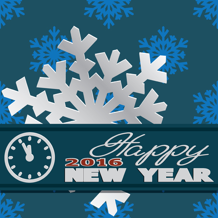says: Holiday card with snowflakes and says Happy new year.