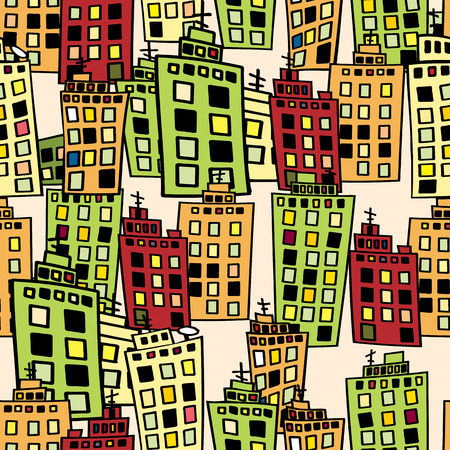 Seamless texture of urban homes. Dense buildings. Vector illustration.