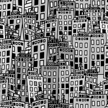 Seamless texture of urban homes. Dense buildings. Illustration