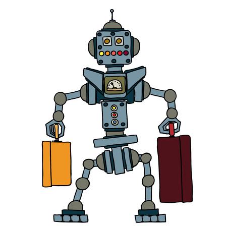 Kleine robot bracht koffers, elektronische computer apparaat.