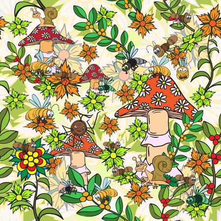 fungi: Seamless pattern. Plants, insects, and fungi. Illustration